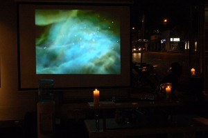 A shot of the video created for the opening by Craig Breckenridge and Stacy Sakai.