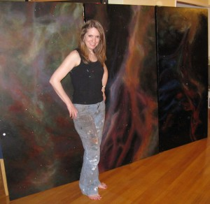 Stacy with Veil Nebula paintings
